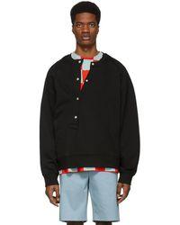 Jil Sander - Black Asymmetrical Button Sweatshirt - Lyst