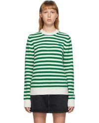 Acne Studios - グリーン And ホワイト Breton ストライプ セーター - Lyst