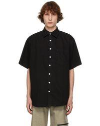 Schnayderman's ブラック オーバーサイズ デニム ショート スリーブ シャツ