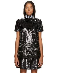 Versus - Black Sequinned Elastic Collar T-shirt - Lyst