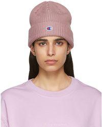 Champion - Pink Logo Beanie - Lyst