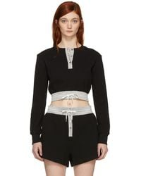 T By Alexander Wang - Black Heavy Waffle Cropped T-shirt - Lyst