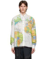 Sacai ホワイト And マルチカラー ワールド マップ シャツ - グリーン