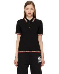 Burberry ブラック チェック ポロシャツ