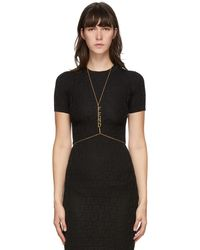 Fendi Gold Logo Charms Body Chain - Black