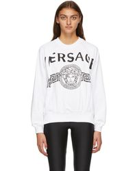 Versace ホワイト ビンテージ Medusa カレッジ スウェットシャツ