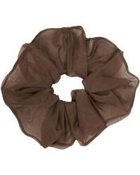 Sophie Buhai Brown Silk Organza Scrunchie