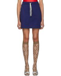 Gucci Blue GG Drawstring Miniskirt
