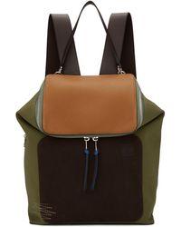 Loewe - Khaki And Brown Goya Backpack - Lyst