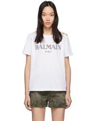 Balmain - White 3 Button T-shirt - Lyst