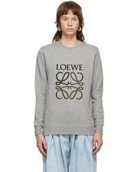 Loewe グレー エンブロイダリー アナグラム スウェットシャツ