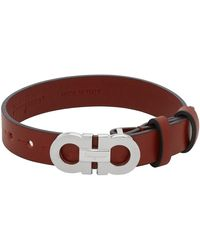 Ferragamo Red Gancini Rigato Bracelet