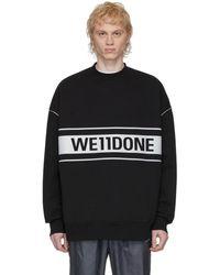 we11done ブラック リフレクティブ ロゴ スウェットシャツ
