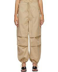 Dion Lee Pantalon en coton brun clair Parachute - Neutre