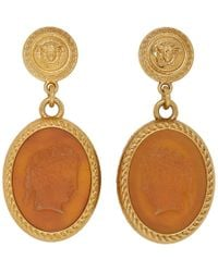 Versace - Gold Small Medusa And Cameo Earrings - Lyst