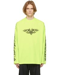 Vetements Yellow Gothic Logo Long Sleeve T-shirt
