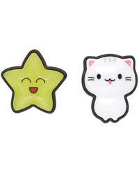 Balenciaga ホワイト & イエロー Sticker Cat & Star ピアス