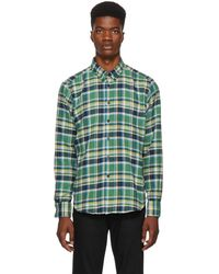 Naked & Famous - Green And Navy Rustic Flannel Shirt - Lyst