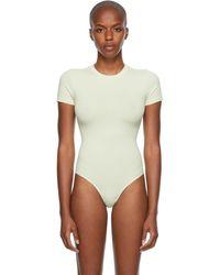 Skims Cotton 2.0 コレクション オフホワイト T シャツ ボディスーツ