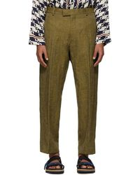 Dries Van Noten - Brown And Yellow Pen Trousers - Lyst