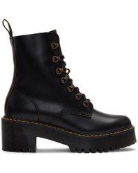 Dr. Martens Black Heeled Leona Boots