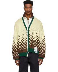 Miharayasuhiro Blouson blanc casse Layer Knit Track