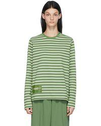 Marc Jacobs グリーン & ホワイト The Striped T-shirt ロング スリーブ T シャツ