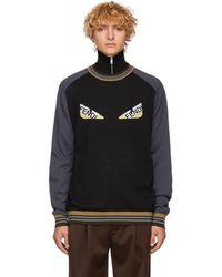 Fendi ブラック And グレー ストライプ バッグ バグ セーター