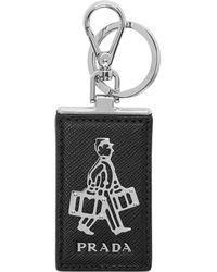 Prada Porte-cles a plaque a logo noir et gris