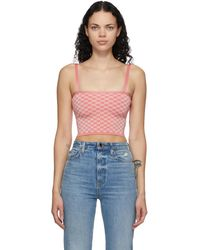 Calle Del Mar Pink Chequered Tank Top - Blue