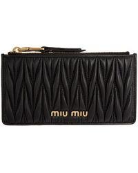 Miu Miu - ブラック マテラッセ カード ホルダー - Lyst