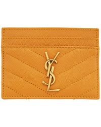Saint Laurent Yellow Quilted Monogramme Card Holder - Multicolour