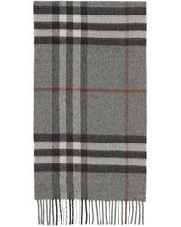 Burberry Foulard en cachemire gris Classic Check
