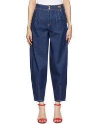 Versace Jeans Couture ネイビー テーパード マムフィット ジーンズ - ブルー