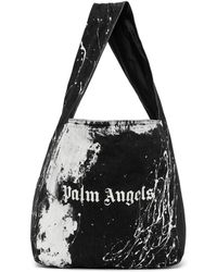 Palm Angels Black Denim Logo Tote