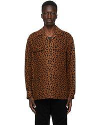 Wacko Maria ブラウン & ブラック レオパード Open Collar シャツ