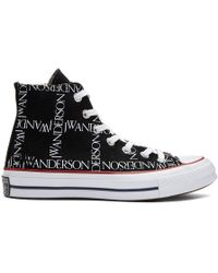 JW Anderson - Black Converse Edition Grid Logo Sneakers - Lyst