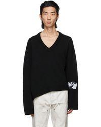 Enfants Riches Deprimes Label Patch Asymmetrical Sweater - Black