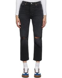 RE/DONE Black Faded 70s Stove Pipe Jeans
