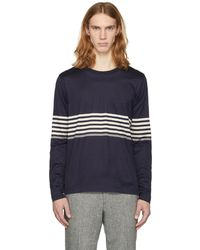 Paul Smith   Navy Long Sleeve Chest Stripe T-shirt   Lyst