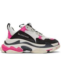 Balenciaga White And Pink Triple S Sneakers - Multicolor