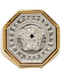 Versace - Gold And Silver Medusa Ring - Lyst