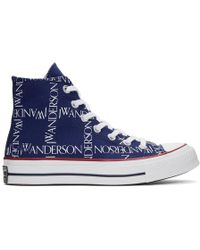 JW Anderson - Blue Converse Edition Grid Logo Chuck 70 Hi Sneakers - Lyst