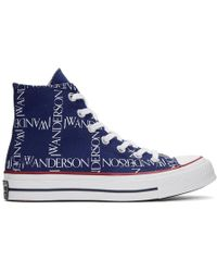 JW Anderson Converse Edition ブルー グリッド ロゴ Chuck 70 ハイ スニーカー