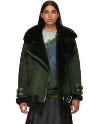 Acne Studios - Green Suede And Shearling Velocite Jacket - Lyst