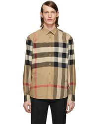 Burberry Beige Check Windsor Shirt - Natural