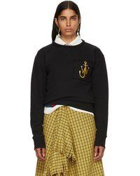 JW Anderson - Black Frayed Logo Sweatshirt - Lyst