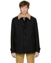 Prada - Black Shearling Collar Coat - Lyst