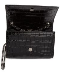 Saint Laurent - Black Croc Small Kate Bag - Lyst