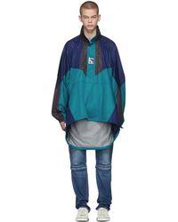Balenciaga - Blue And Navy Double Hem Windbreaker Coat - Lyst